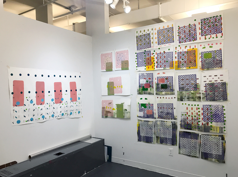 Monica Llorente: Grids, Gardens, Masks & Corners Series. Installation view at the School of Visual Arts artist studio.